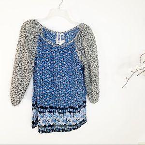 Anthropologie Edme & Esyllte Floral Silk Blend Top